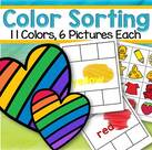 Categorizing 11 colors onto mats - 6 pictures for each mat.
