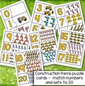 Construction items puzzle cards - match numbers and sets to 20.