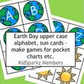 Planet Earth upper case alphabet plus sun cards to match and sort, make games for pocket chart.