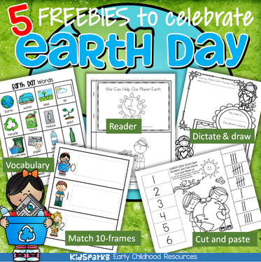 5 free activity printables to use to celebrate Earth Day, for preschool, pre-K and Kindergarten