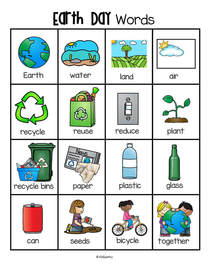 Earth Day vocabulary words printable