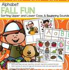 FALL or AUTUMN themed center to develop and practice the recognition of upper and lower case alphabet letters, and also the beginning, or initial, sounds of words.