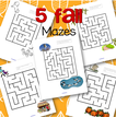 5 fall mazes - each maze features a concept related to autumn.