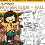 Number Book for Fall - no-prep printables 1-20