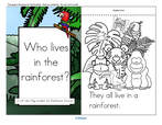 A Lift-the Flap rainforest animals  emergent reader, plus puppets and vocabulary.