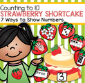Strawberry themed counting pack includes 10 numbered shortcake counting mats, and 6 strawberry cards picturing different ways to show numbers to place on each mat.