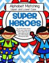 Superheroes theme upper and lower case alphabet matching center - match shields to heroes.