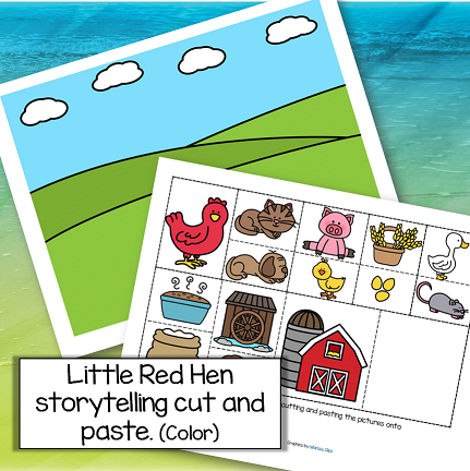Little Red Hen storytelling cut and paste activity in color.