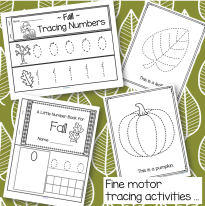 Make a number strip booklet, a Little Number Book for Fall, and leaf and pumpkin trace and color printables.
