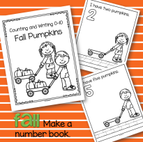 Fall pumpkins - counting, writing and drawing sets 0-10.