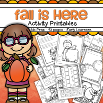 Fall Theme Activities Pack- no prep- 91 pg, all in b/w.