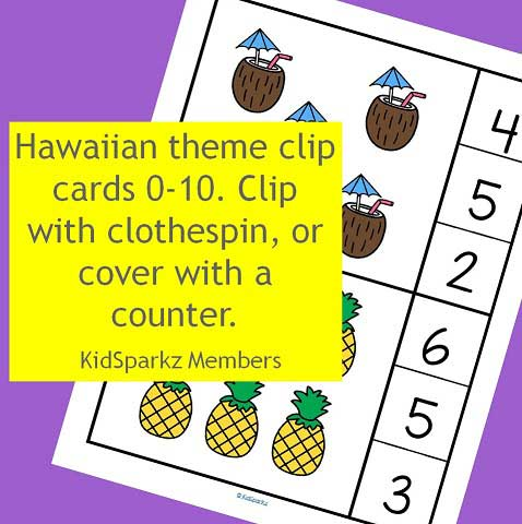 Hawaiian theme clip cards 0-10. Clip with clothespin, or cover with a counter.
