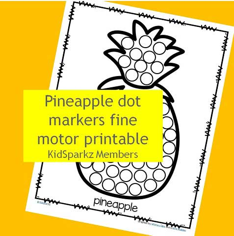 Pineapple dot markers fine motor printable