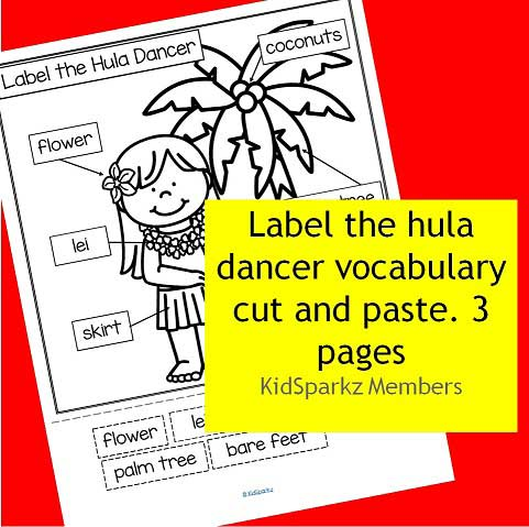 Label the hula dancer vocabulary cut and paste.