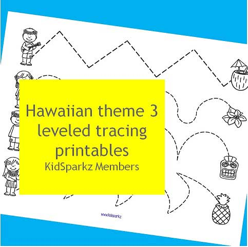 Hawaiian theme 3 leveled tracing printablesPicture