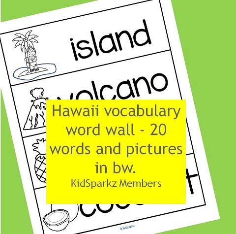 Hawaii vocabulary word wall - 20 words and pictures in b-w.