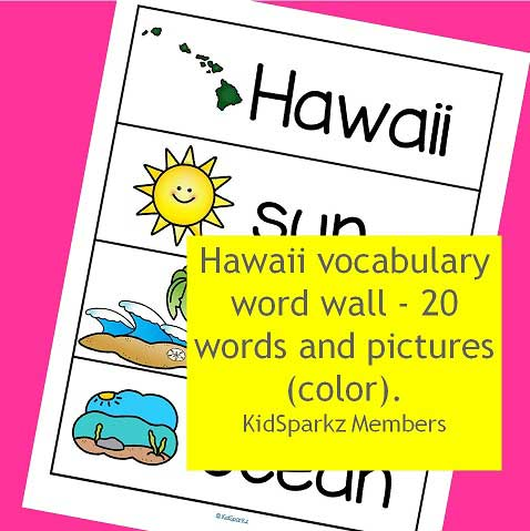 Hawaii vocabulary word wall - 20 words and pictures.
