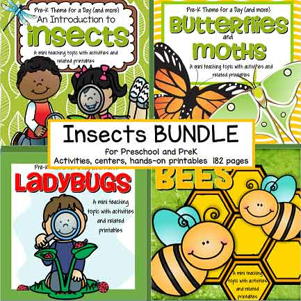 Discounted bundle of 4 INSECTS preschool curriculum theme packs. $11