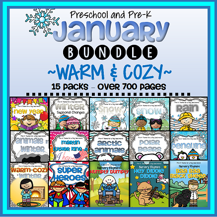 January themes curriculum bundle for preschool and preK.