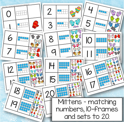 Mittens theme - matching numbers, 10-frames and sets of mittens 0-20. Also find and count pairs.