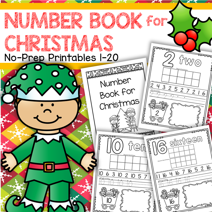 Christmas theme no-prep printables 1-20.