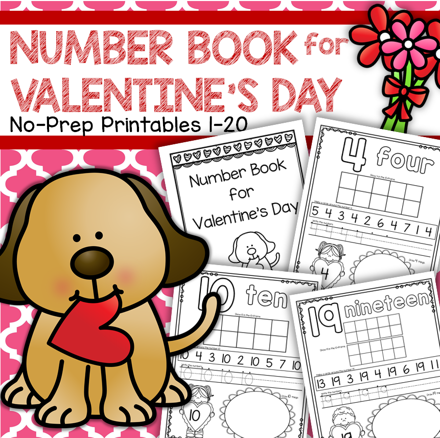 Make a Valentine Number Book counting 1-20 no prep.
