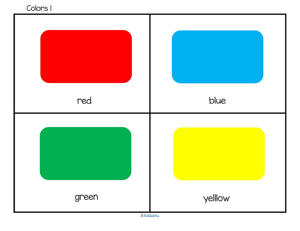 color flashcards red blue green yellow