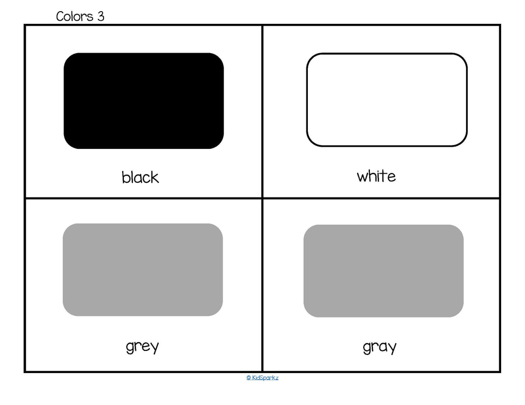 color flashcards black white grey gray