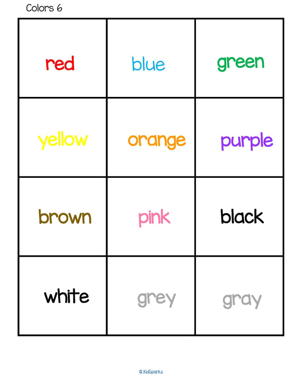 color words flashcards