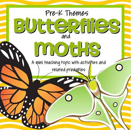 Butterflies and Moths theme pack for preschool and pre-K - 46 pages.