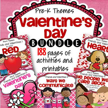 Discounted bundle of 5 Valentine's Day preschool curriculum theme packs.