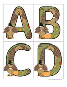 Thanksgiving theme large alphabet letters. Includes both upper and lower case.