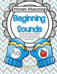 Mitten Matching - Beginning Sounds, full alphabet (color and b/w)