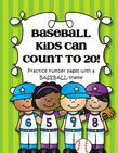 Baseball Number Practice printables 1-20.