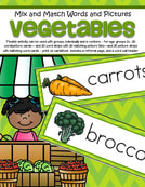 Vegetables word wall plus - This flexible mix and match vegetables picture/word activity