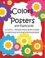 Set of full page FLOWERS  colors posters - 11 colors, plus flashcards and pages to color