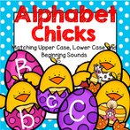 3 chicks for each letter of the alphabet - upper case, lower case, and a picture of an object that begins with the letter sound