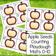 Apple seeds counting play dough mats 0-10.