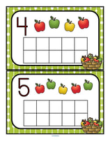 Fill the apples themed 10-frames with manipulatives such as pom poms, counters or playdough. Recognize numbers and count sets 0-10.