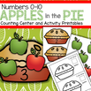 Apples and pies counting center to make for preschoolers