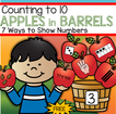 Counting to 10 - apples in barrels - 7 ways to show numbers.