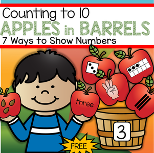FREE Counting to 10 preschool and kindergarten center, with an APPLES theme