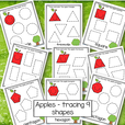Apples tracing shapes - 9 shapes