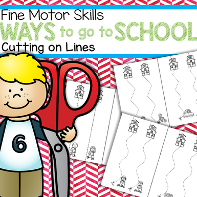 Cutting on lines fine motor skills with a back to school theme