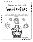 Writing, counting and drawing (or cutting and pasting) sets of butterflies 0-10, in b/w.