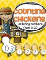 Counting sequence - hen and chickens 0-20.  Use for a center, group teaching, room decor.