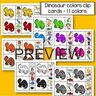 Dinosaur colors clip cards - 11 colors, 2 cards for each color.