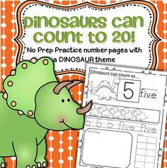 Dinosaur theme count to 20 printables