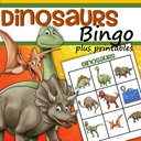 Dinosaurs bingo game plus supporting printables.