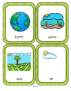 Set of 20 talking point flashcards for Earth Day and every day, with ideas for use.